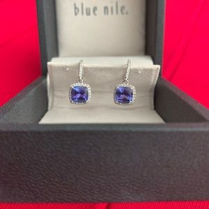 14k Gold Blue Nile Tanzanite & Diamond Earrings